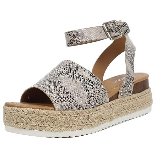 3cc724e598e SODA Women's Open Toe Halter Ankle Strap Espadrille Sandal