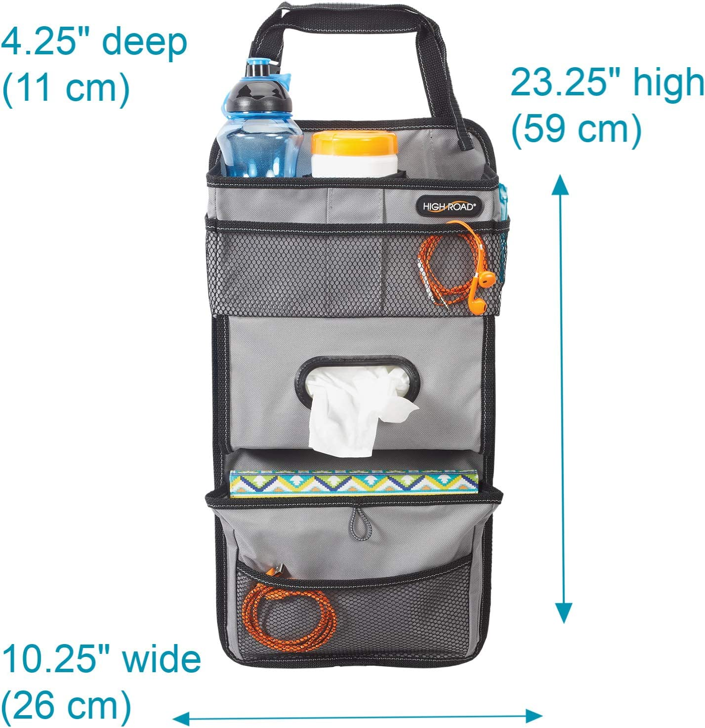 High Road TissuePockets Backseat Organizer with Tissue Compartment and Cup Holder Bin Gray