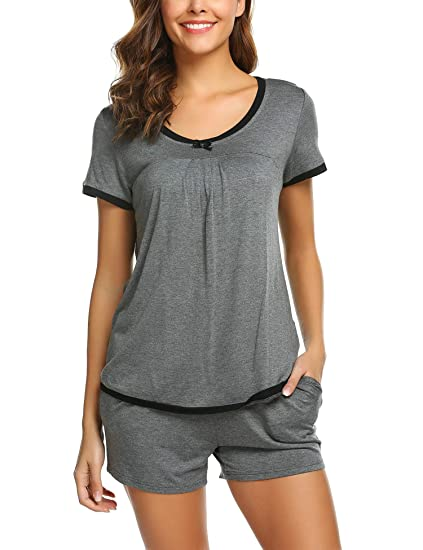 04b1317c39 Ekouaer Women s Soft Short Sleeve Lingerie Sleepwear Casual Round Neck Pajama  Set Underwear(Grey
