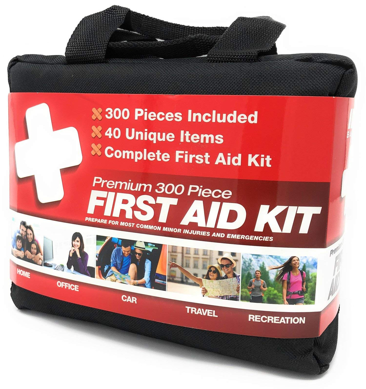 M2 BASICS 300 Piece (40 Unique Items) First Aid Kit w/Bag | Free First Aid Guide | Emergency Medical Supply | for Home, Office, Outdoors, Car, Camping, Travel, Survival, Workplace by M2 BASICS