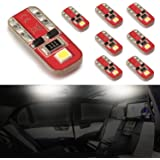 simdevanma Automobile LED Bulbs T10 194 168 175 2825 with Advanced Chipset for Interior Dome Map Door Courtesy License Plate Lights Compact Wedge-Xenon White-Pack of 8