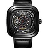 BUREI Men's Stainless Steel Automatic Square Watch with Black Calfskin Band