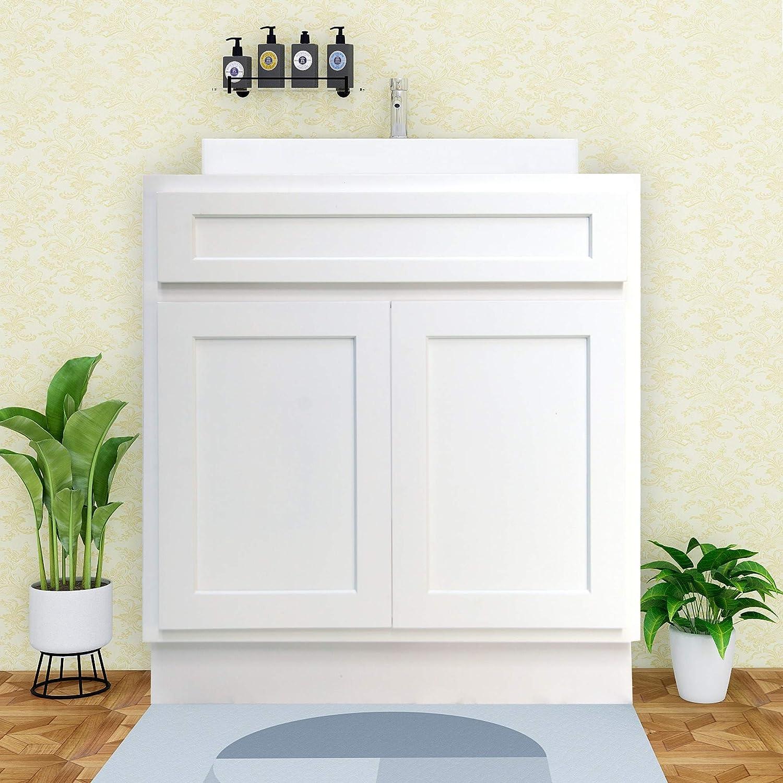 Vanity Art 24 Inch Bathroom Vanity Cabinet Solid Wood Brown Finish Bathroom Sink Cabinet Organizer with Double Shutter Door and Adjustable Shelf VA4024-B