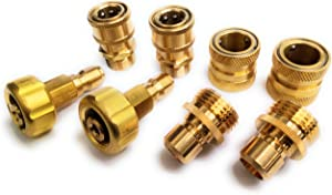 "Solid Brass Pressure Washer Adapter Set, Quick Coupler, Fitting, M22 15mm Thread, Swivel 3/8'' Quick Connector Set + 3/4"" Garden Hose Quick Connector Set, Up to 5000PSI, Heavy Duty, Leak Free."