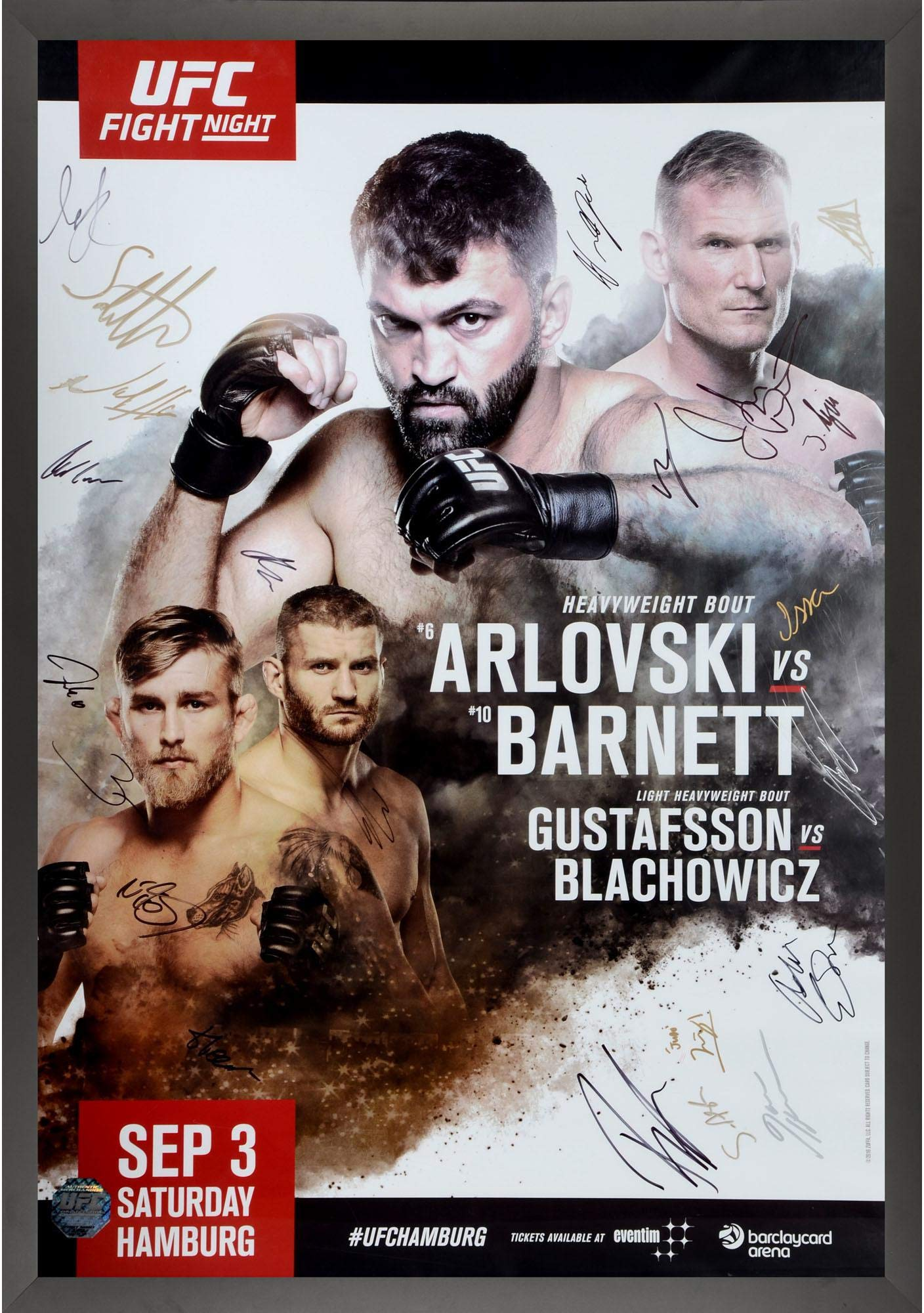 "UFC Fight Night 93 Arlovski vs. Barnett Framed Autographed 27"" x 39"" 22 Signature Fight Poster Fanatics Authentic Certified"