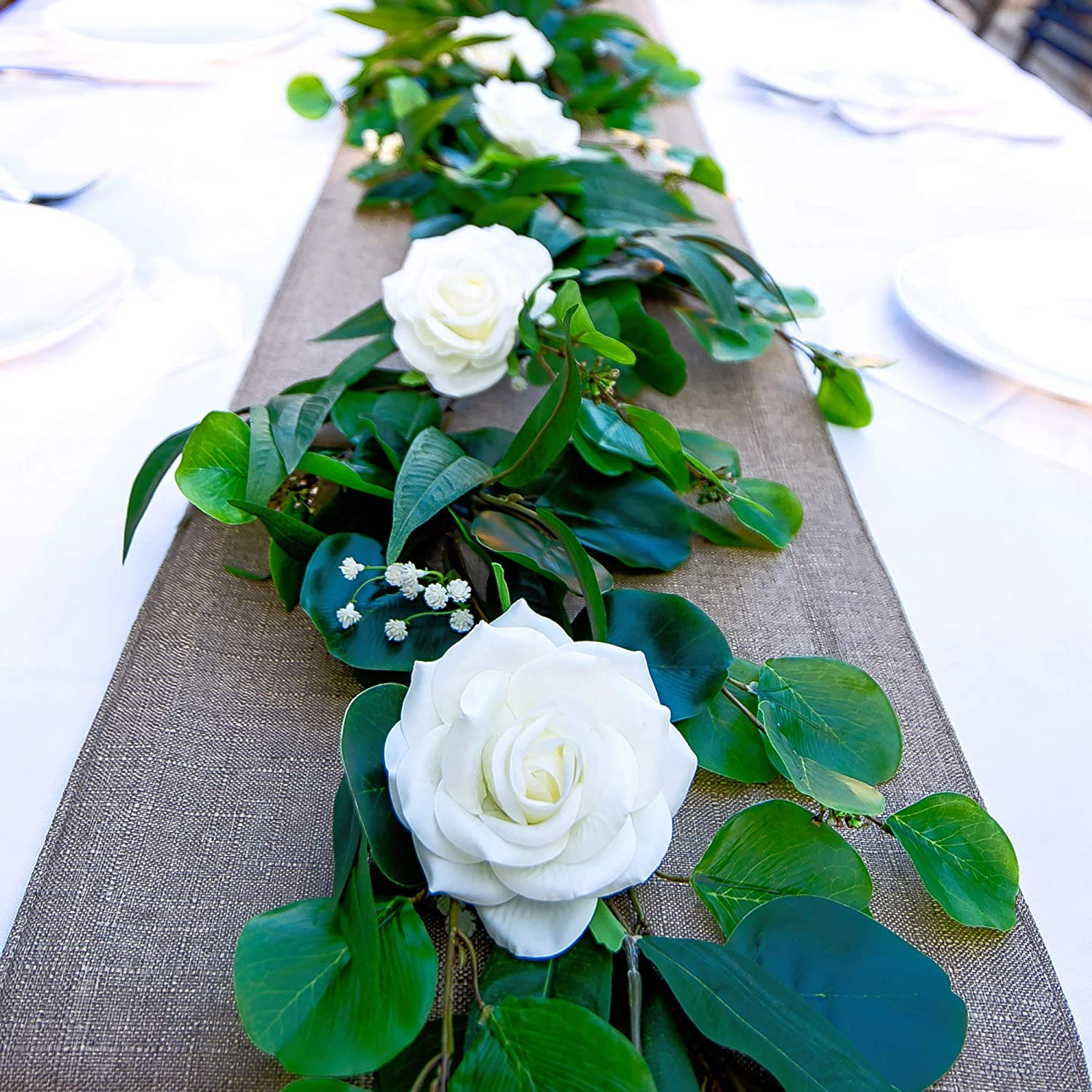 Cebliss Premium Rose Garland -5 ft Artificial Real Touch Latex White Rose Flowers with Green Eucalyptus Leaves for Hanging Decor,Table Runner,Wedding Arch,Centerpieces,Reception
