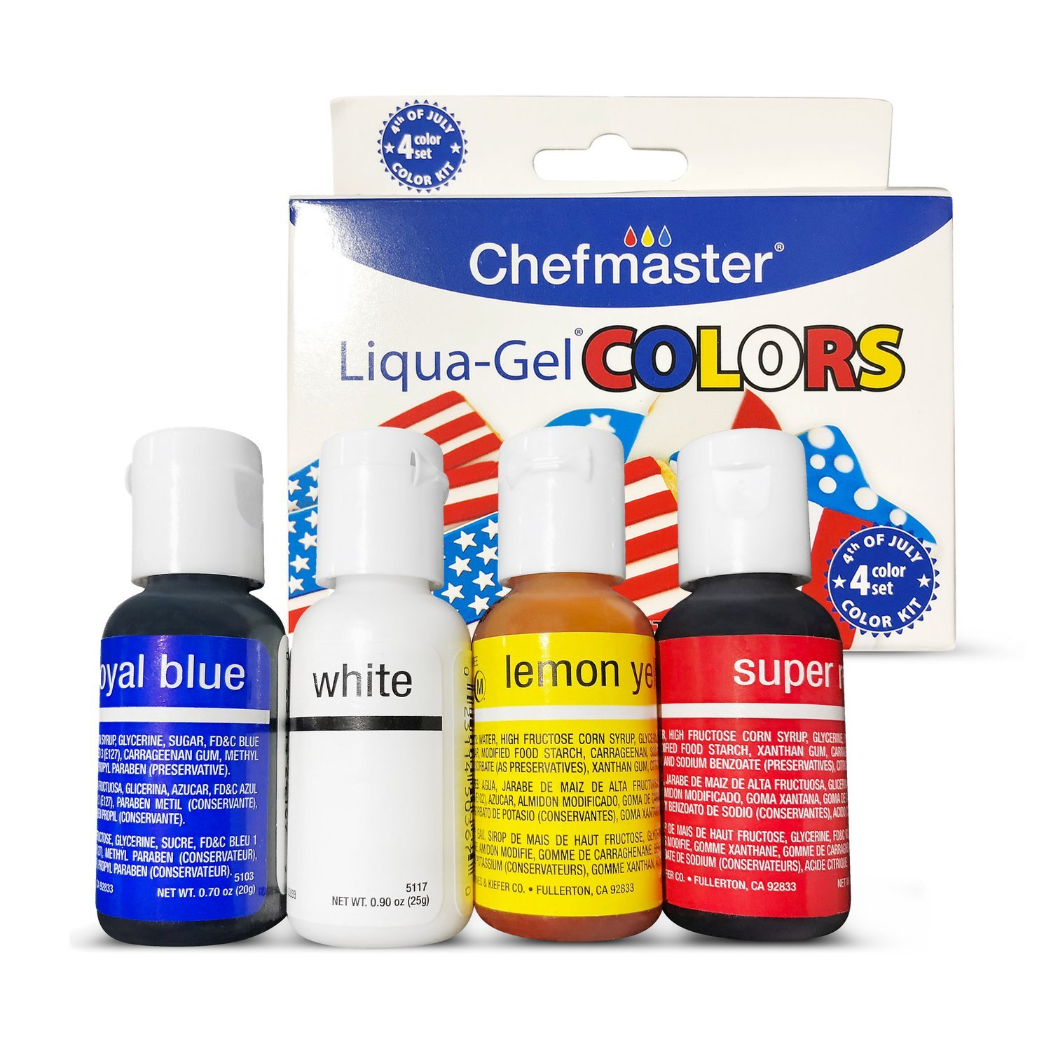 Chefmaster 4th of July Food Coloring Kit, 4-Pack Gluten Free Food Colors for Slime & Cake Decorating.70 oz Concentrated Food Coloring in Royal Blue, Super Red, Lemon Yellow & White by Chefmaster (Image #1)