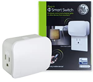 GE Enbrighten Z-Wave Plus Smart Plug, 1 Grounded Outlet, On/Off Switch for Lighting & Appliances, Built-in Repeater/Range Extender, Zwave Hub Required, Works with SmartThings Wink and Alexa, 28169, White