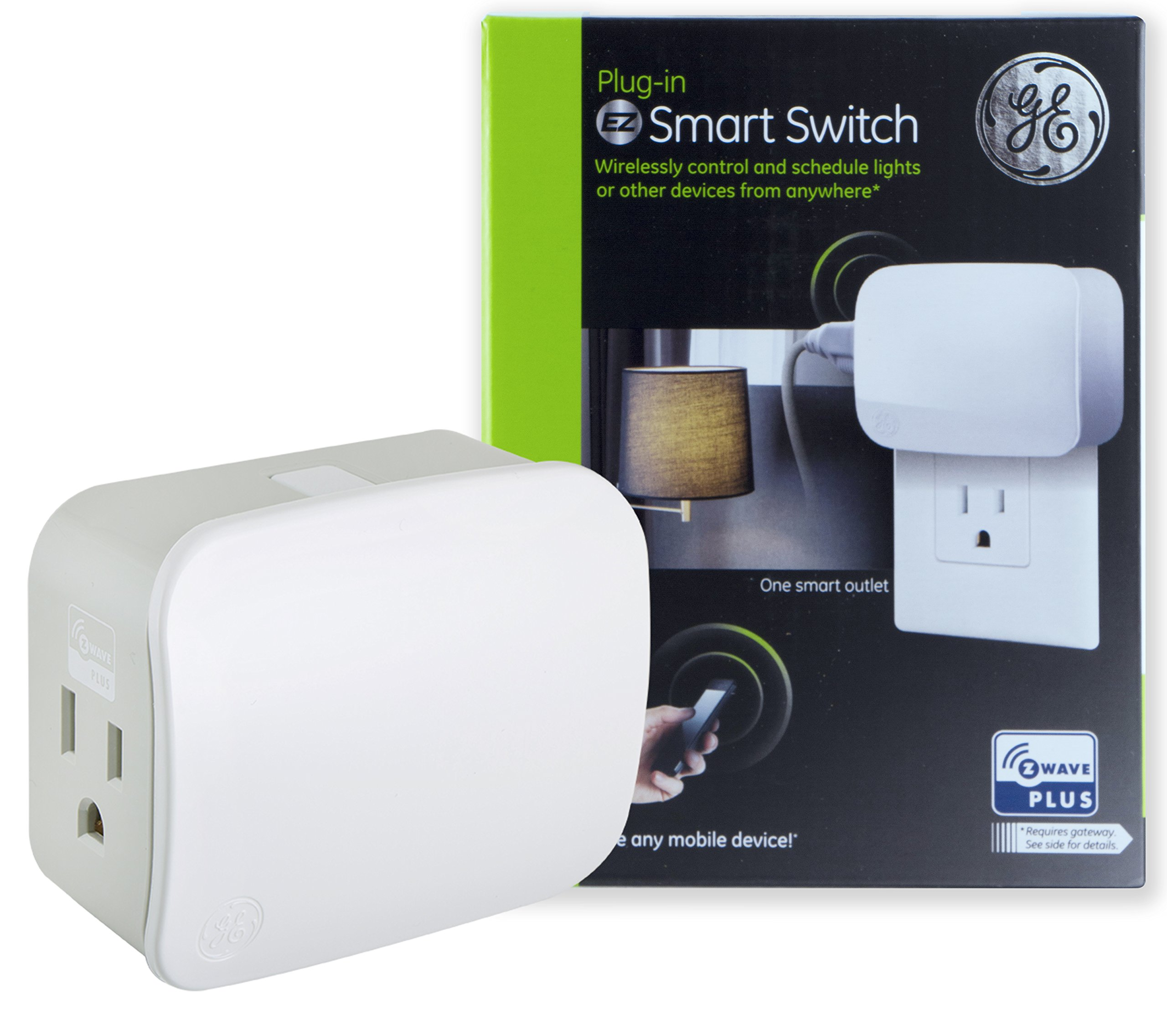 GE Z-Wave Plus On/Off Plug-In Smart Switch, 1 Grounded Outlet, Control Lighting & Appliances, Built-in Repeater & Range Extender, Zwave Hub Required- Works with SmartThings Wink and Alexa, 28169