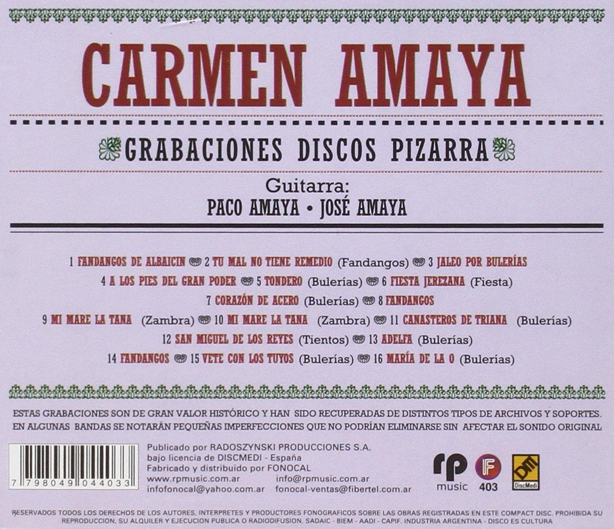CARMEN AMAYA - Grabaciones Discos Pizarra, Ano 1948-50 ...