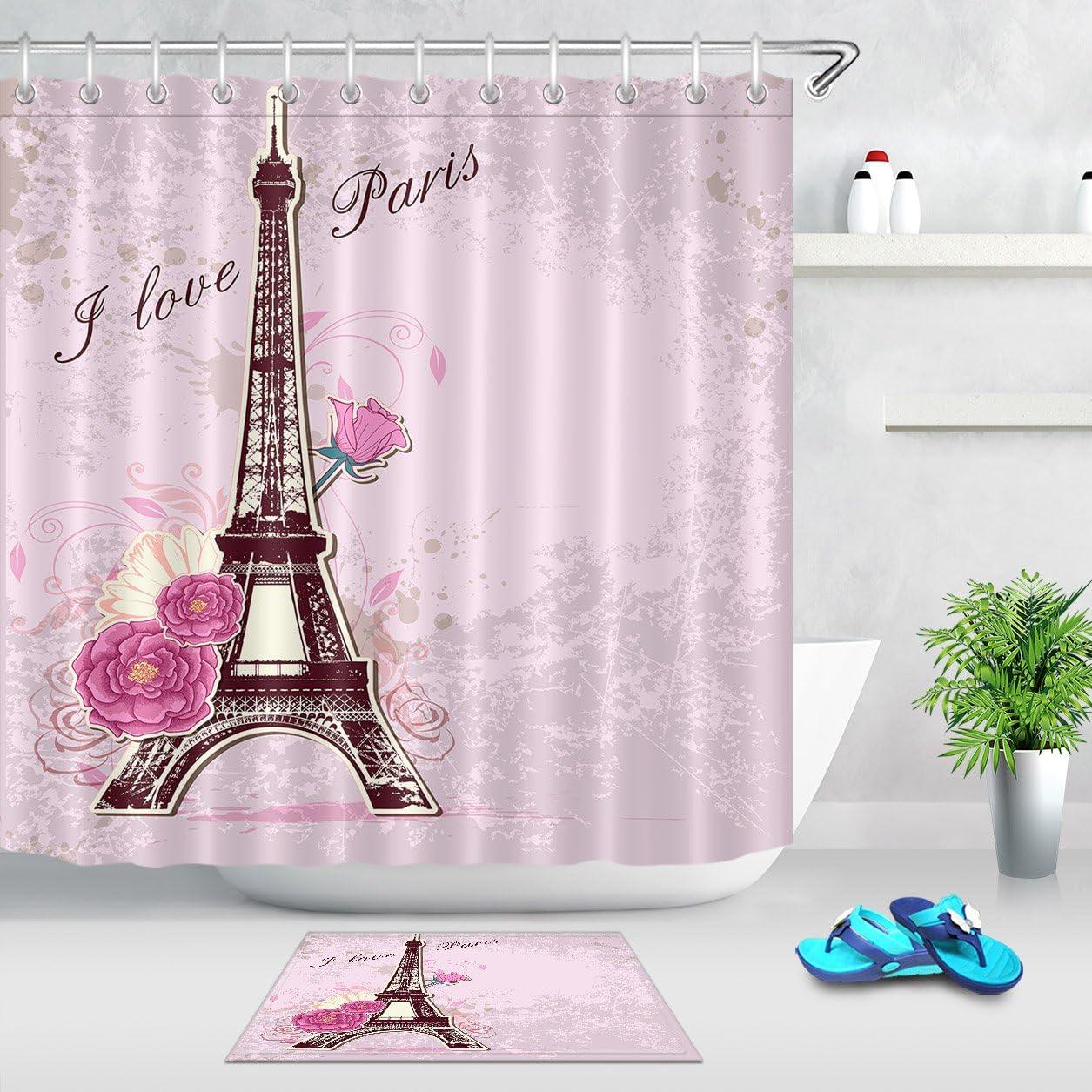 Eiffel Tower Circle Wood Board Shower Curtain Bathroom Tub Set Waterproof Fabric
