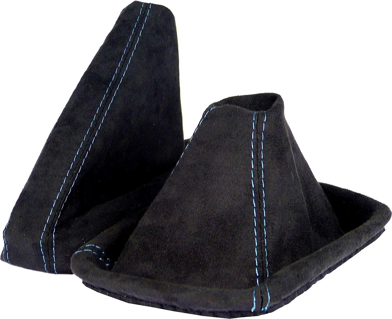 L P Car Design L P A0098 Schaltsack Schaltmanschette Handbremsmanschette Kompatibel Mit Bmw 3er E46 Weiche Microfaser Schwarz Naht Blau Auto