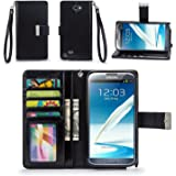 Galaxy Note 2 Case, IZENGATE [Classic Series] Wallet Case Premium PU Leather Flip Cover Folio with Stand for Samsung Galaxy Note 2 (Black)