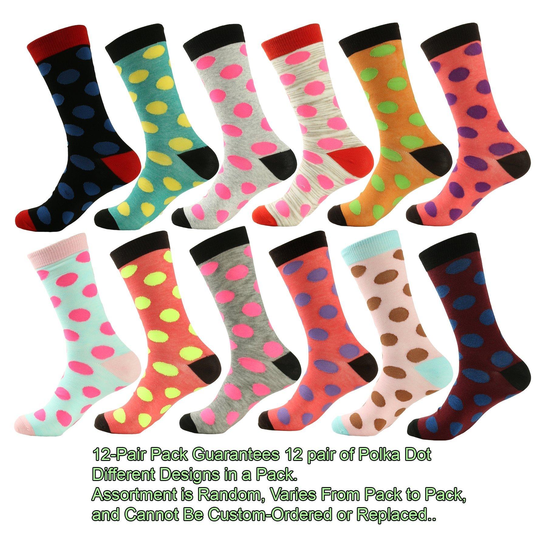 Mens Designer Dress Socks 12 Pair - Polka Dot