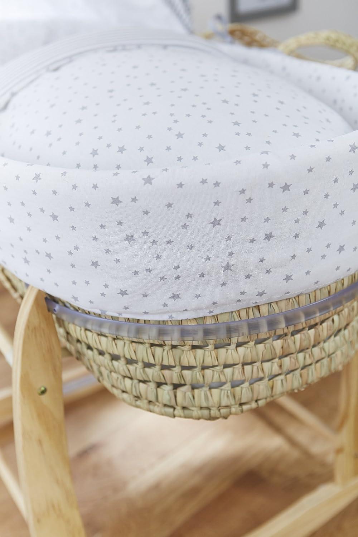 Clair de Lune Palm Moses Basket Grey, Stars and Stripes