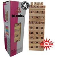 Bright Toys Jenga Blocks | Wooden Tumbling Stacking Jenga Building Tower Game -Set of 51 Pieces, 4 Dices | Non Toxic Natural Canadian Pine Wood
