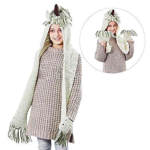 Amazon Com Autumn And Winter Girls Crochet Cartoon Unicorn Hat With