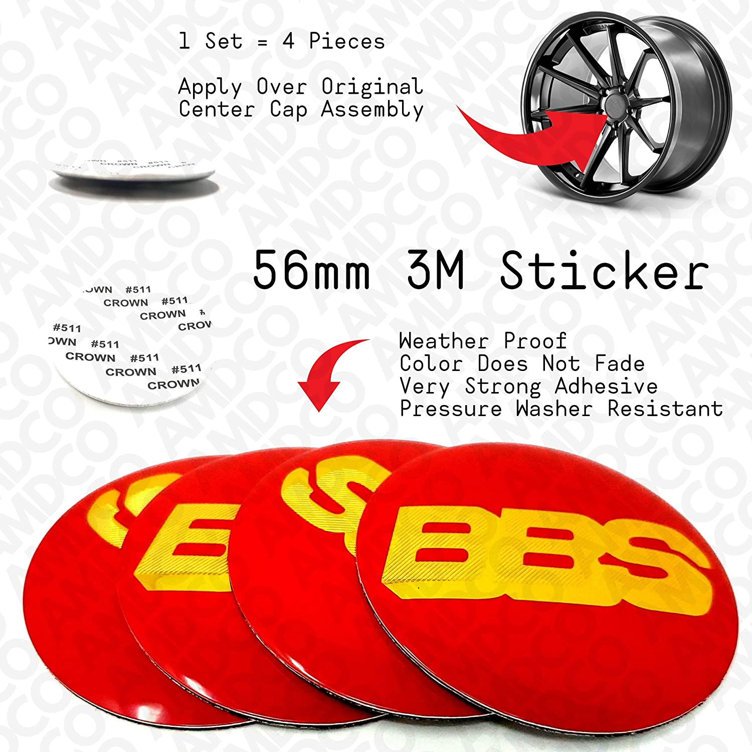 RED GOLD AMDCO 56MM RED Emblem Badge Stickers Decals with Strong 3M Includes instructions MEASURE Before Purchase Fitment Top Quality fit For AFTERMARKET WHEELS BBS etc pack of 4