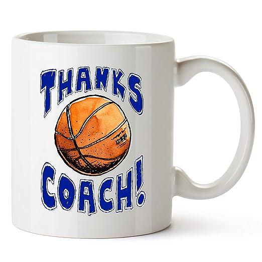 Taza de baloncesto con texto en inglés