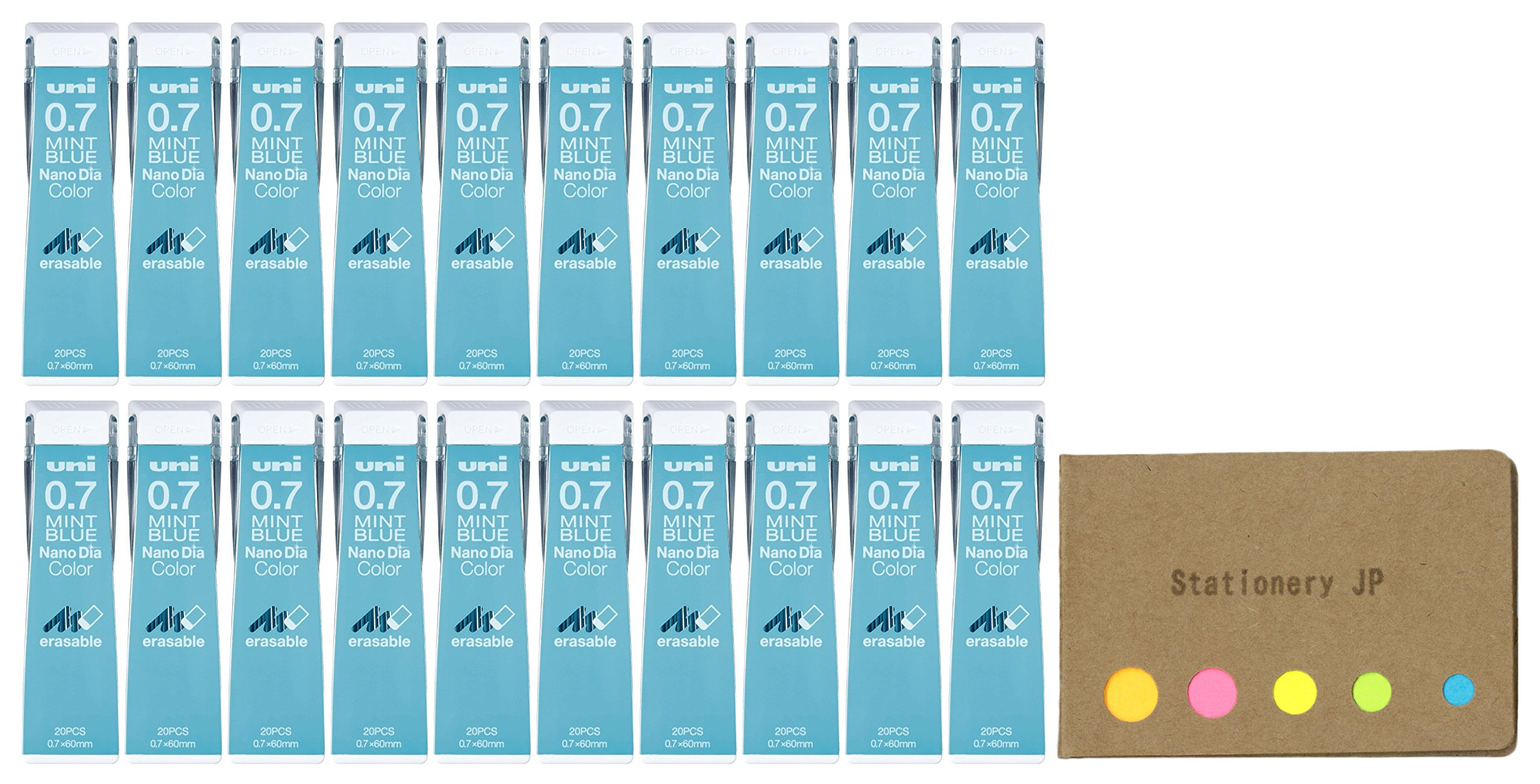 Uni NanoDia Color Mechanical Pencil Leads, 0.7mm, Mint Blue, 20-pack/total 400 Leads, Sticky Notes Value Set by Stationery JP (Image #1)