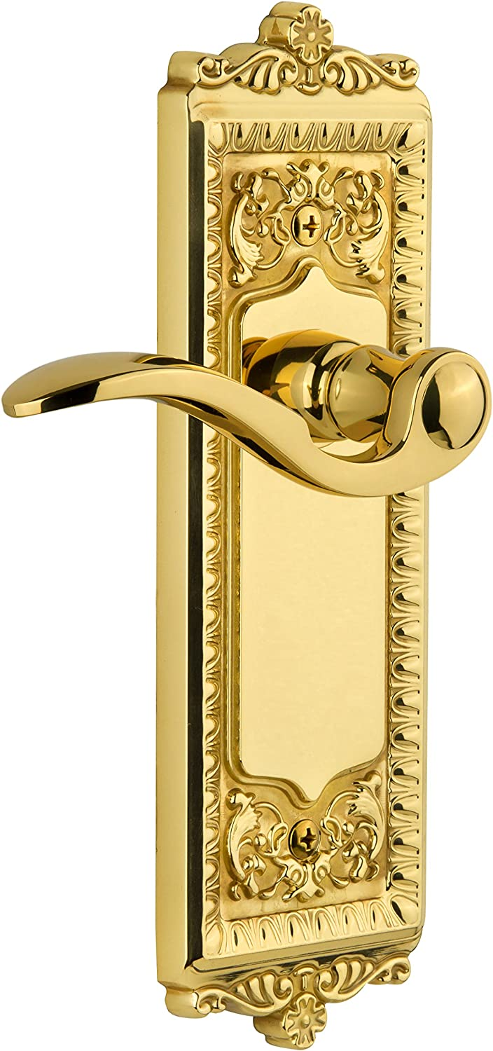 Grandeur Windsor Plate with Left Handed Portofino Lever Single Dummy Polished Brass