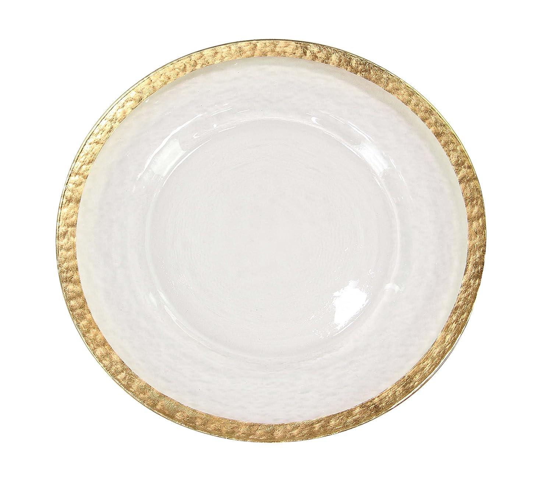 Deco 79 99084 99084 Charger Plate, White/Gold Uma Enterprises