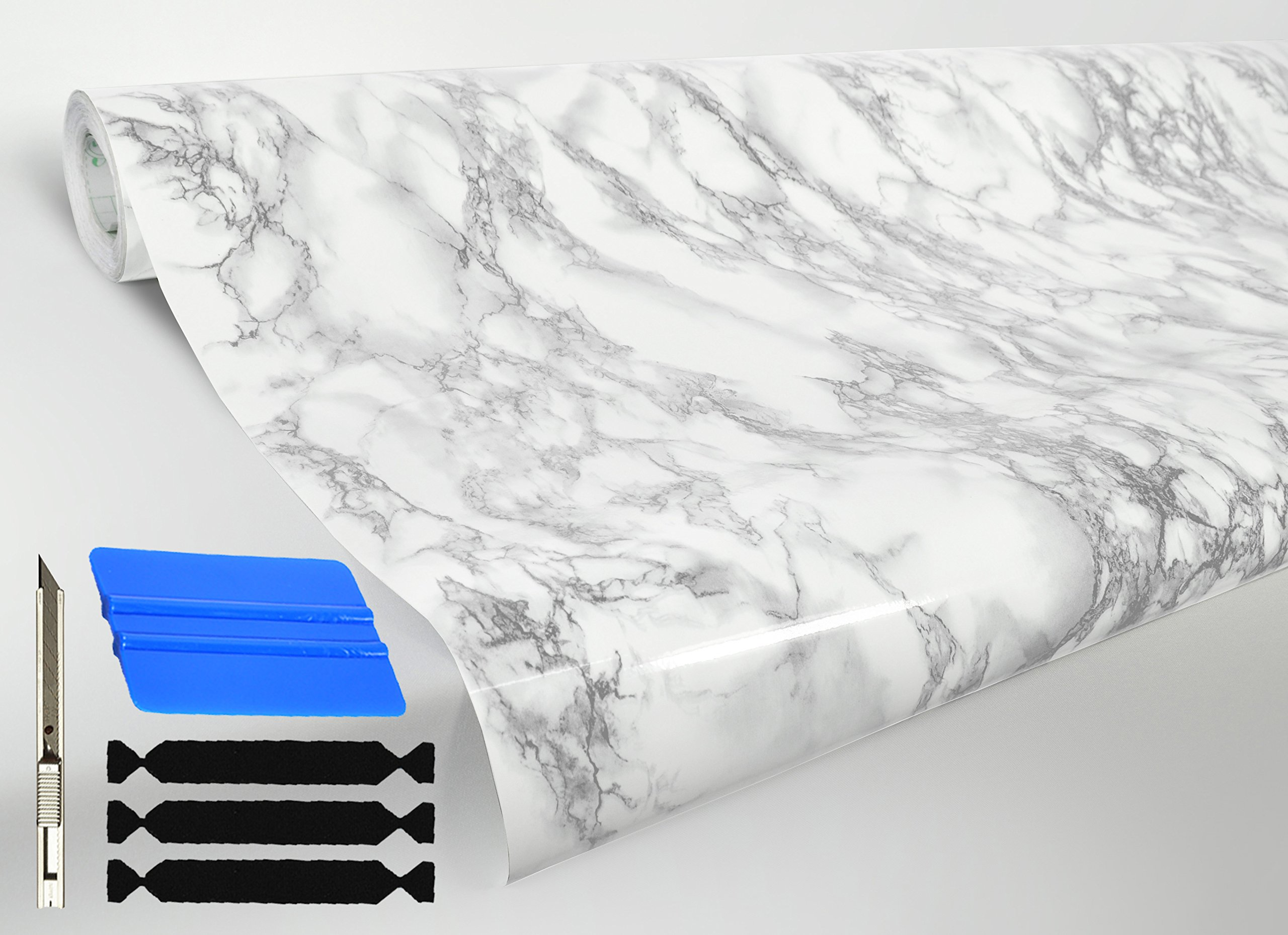 VViViD White Grey Veined Marble Self-Adhesive Vinyl 48'' x 50ft Full Kitchen Wrap Bulk Roll Including Free Toolkit by VViViD (Image #1)