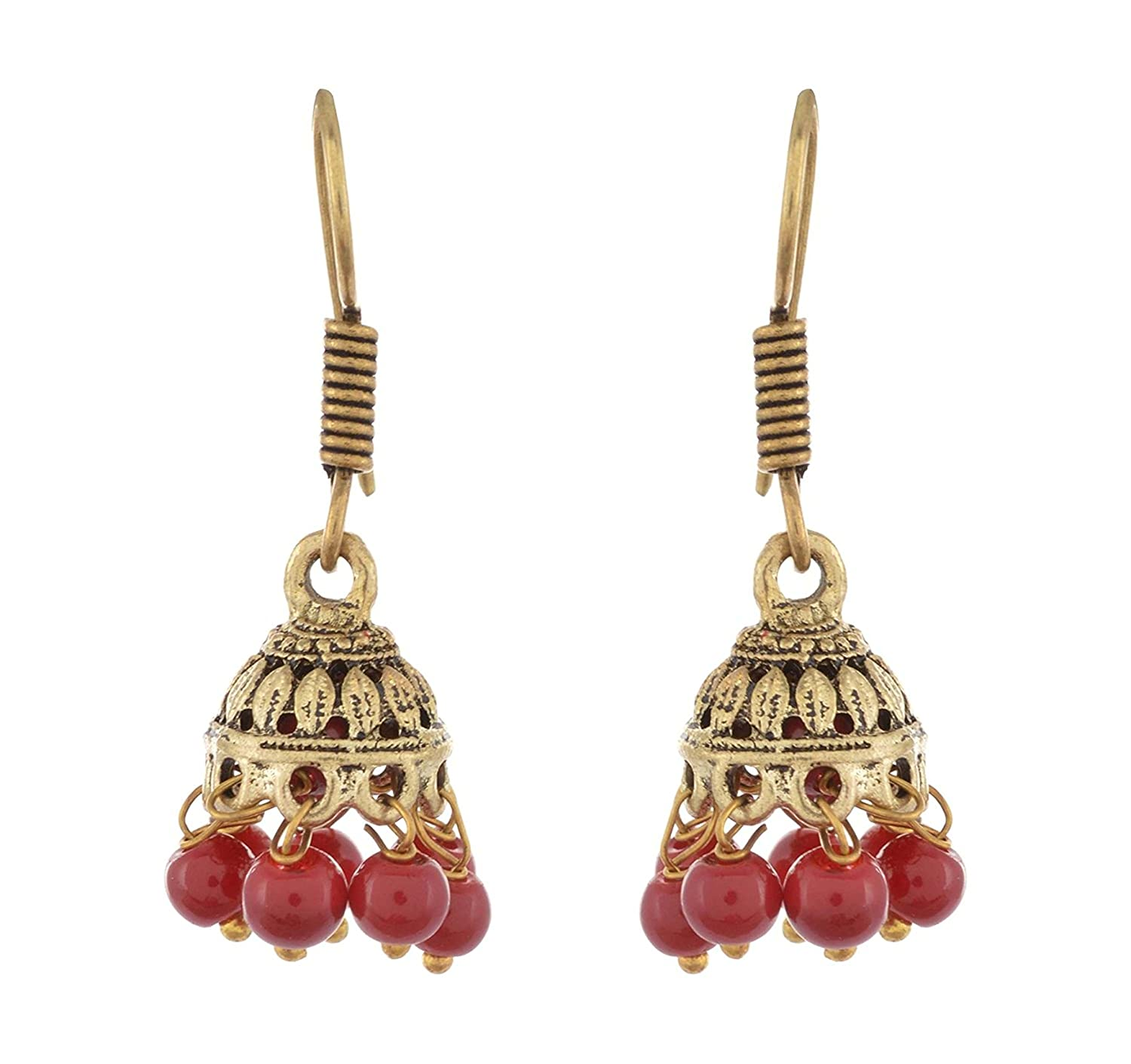 Subharpit Red Brass Metal Indian Traditional Small Jhumka Jhumki Earrings for Women /& Girls