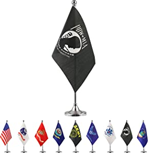 TSMD US POW MIA Desk Flag Small Mini United States Military Table Flags with Stand Base,Decorations Supplies for Army Party Events Celebration