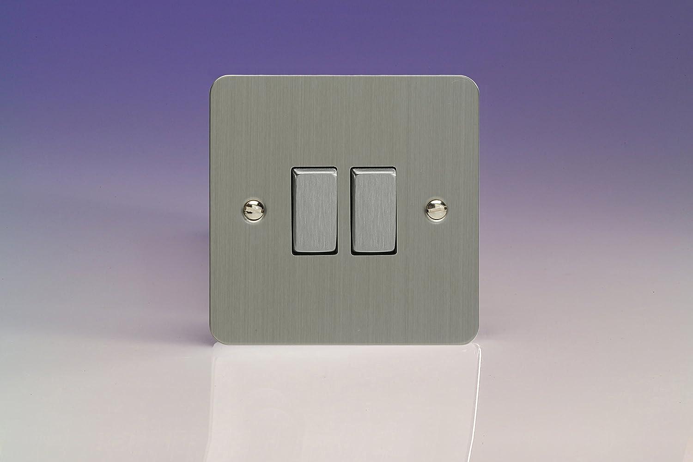 Varilight XFS77D 2 Gang Intermediate Switch In Brushed Steel: Amazon ...