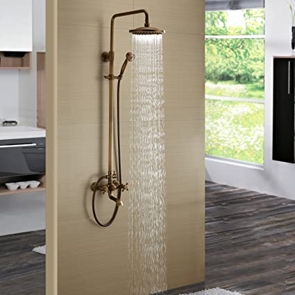 shower head that connects to faucet. Bath Shower Faucet Set Complete Antique Brass Finish Wall Mount With  8 Quot Rain Head