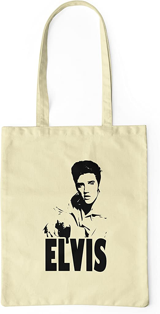 LaMAGLIERIA Bolsa de Tela Elvis Rock Icon - Tote Bag Shopping Bag 100% algodón, Natural: Amazon.es: Hogar