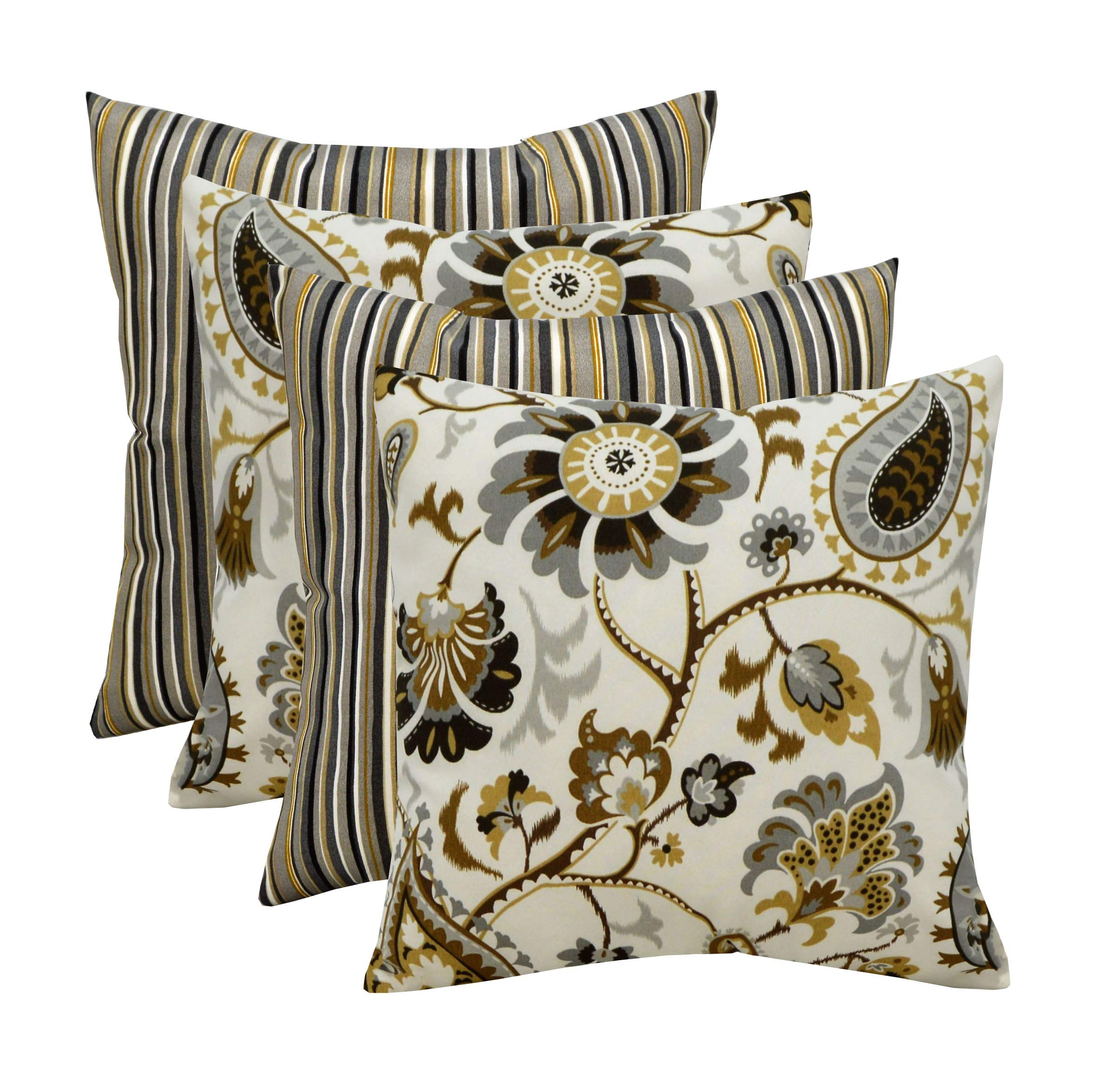 RSH Décor Indoor Outdoor Set of 4 Decorative Toss/Throw Pillows ~ Silver Cloud Paisley Floral & Tan Black Gold Grey/Gray Ivory Cala Slate Stripe (20'' x 20'')