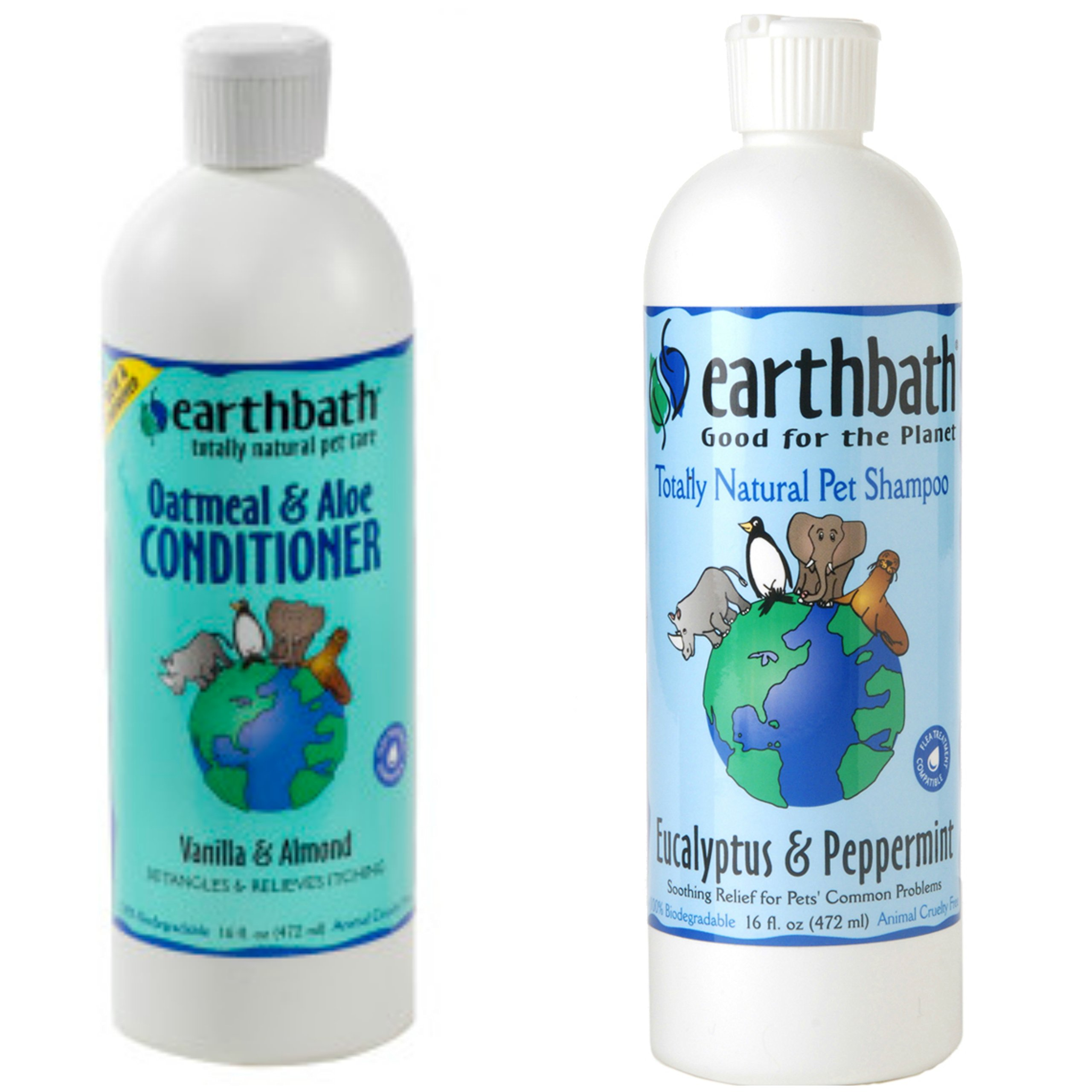 Earthbath Eucalyptus and Peppermint Shampoo for Dogs and Cats, 16 Oz Oatmeal and Aloe Conditioner for Dogs and Cats, 16 oz