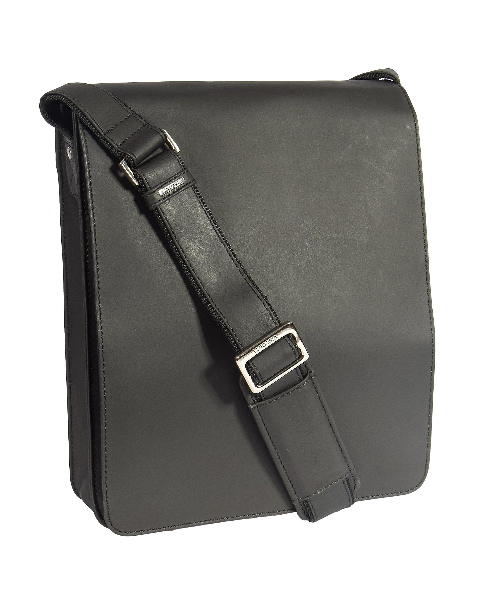 Mens Real Leather Messenger Bag Black Vintage Shoulder Bag iPad Case Los Angeles