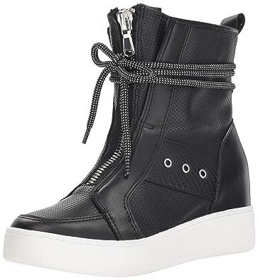 6ace4e42d20 Steve Madden Women s Anton Wedge Sneaker Black Leather 5.5 ...