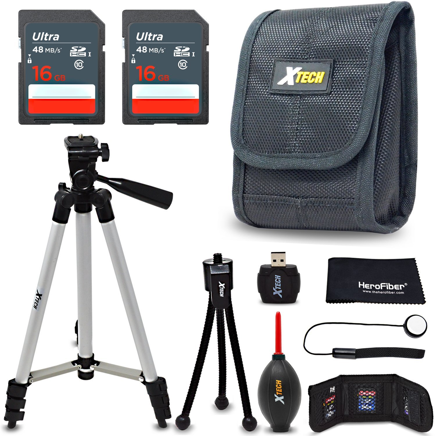 Xtech 32GB Accessories Bundle Kit for Canon Powershot SX730 HS, SX620 HS, SX720 HS, SX710 HS, SX610 HS Includes 32GB memory Card, Camera Case, 50 inch Tripod, Memory Card holder + MORE