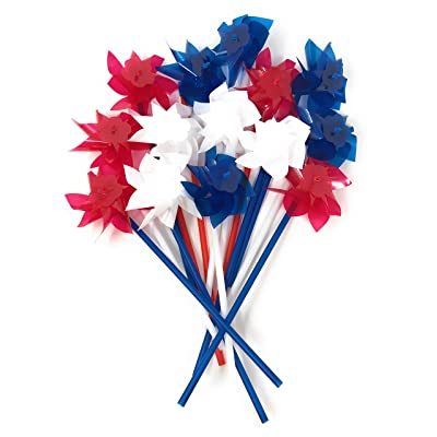 Bulk 50 Pack Patriotic 3 Color Pinwheel Assortment - Indoor and Outdoor Decorations: Toys & Games