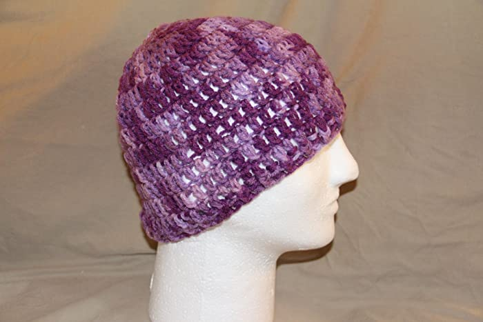 Hand Crochet head hugger cap   skull cap   chemo cap - bad hair day cap -  fits most teens   adults - Variegated purples - 100% soft acrylic yarn -  smoke ... a0957713c33