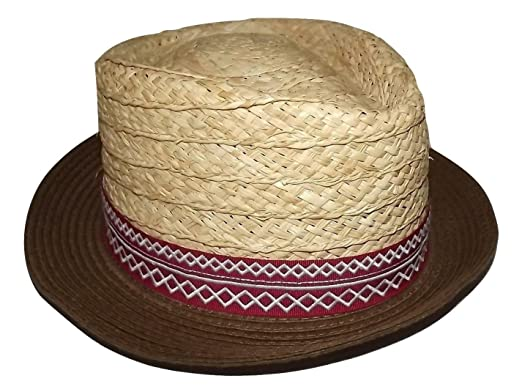 5698a77b822 Image Unavailable. Image not available for. Color  Daniel Cremieux Men s  Straw Fedora Hat Natural with Red Diamond Band Small Med