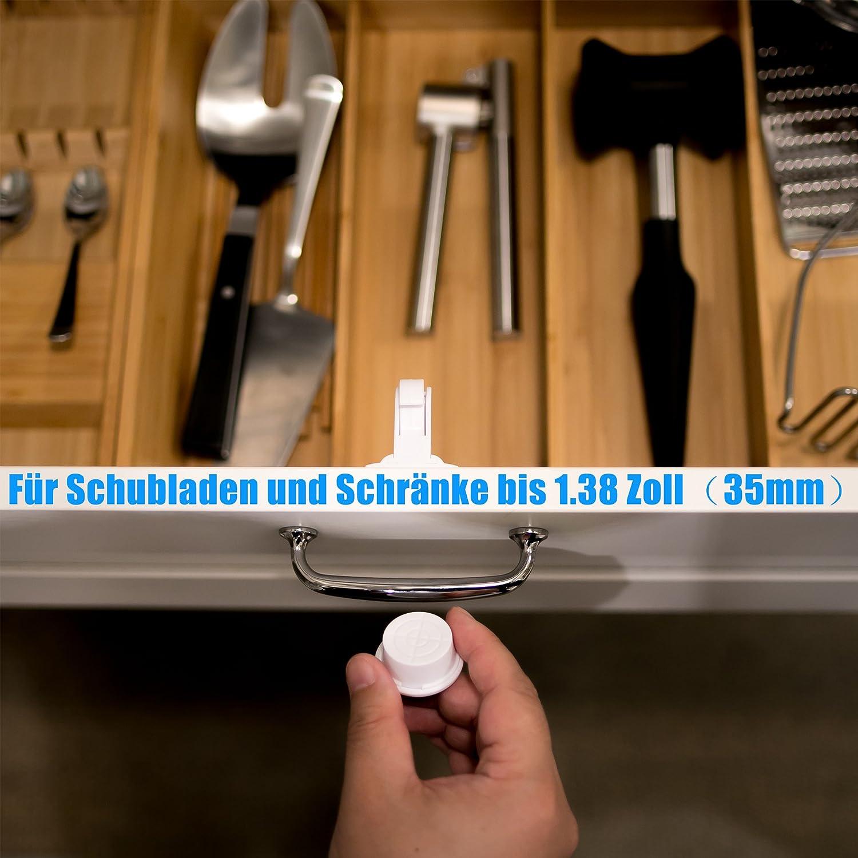 Magnetische Kindersicherung Schrankschloss Kindersicherung f/ür K/üchen 10 Schl/össer mit 2 Schl/üssel WoZon Baby Sicherheit Unsichtbare Schubladensicherung