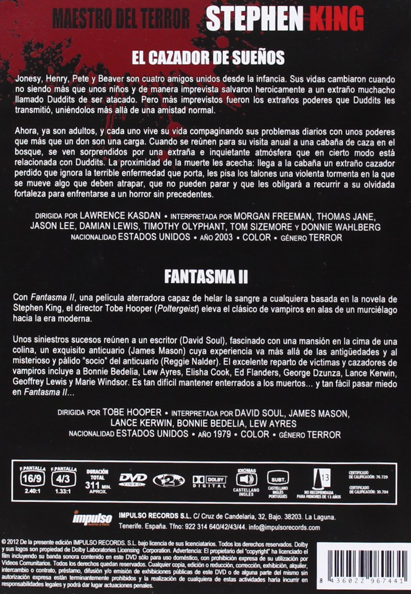 Pack stephen king 1 (2 dvds): Amazon.es: Cine y Series TV