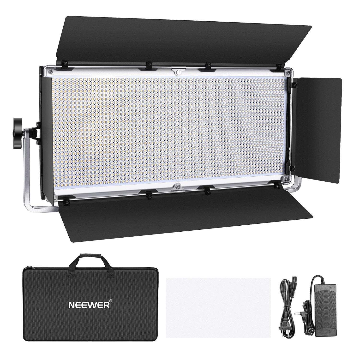Neewer Dimmable 1904 LED Video Light Photography LED Lighting with Metal Frame/Barndoor, 3200K-5600K, DC Adapter/Battery Power Options for Studio Portrait Product Video Shooting (Battery Not Include) by Neewer