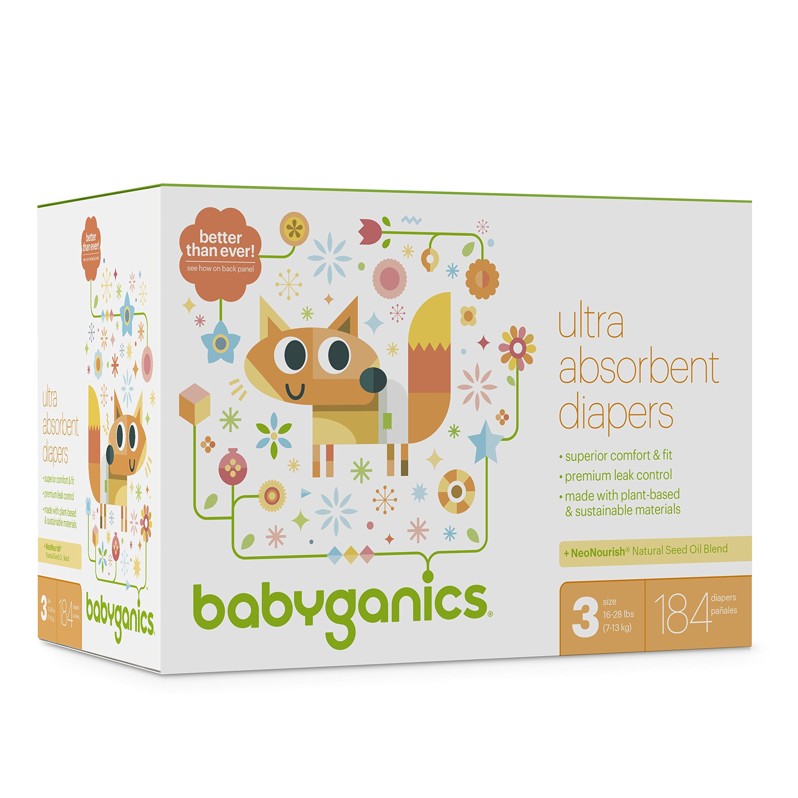 Baby Diapers, Size 3 (16-28 lbs) 184 Count- Babyganics Ultra Absorbent, Unscented, Made without Chlorine, Latex