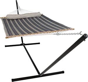 Sunnydaze 2 Person Freestanding Quilted Fabric Spreader Bar Hammock with 15-Foot Stand-Includes Detachable Pillow, 400 Pound Capacity, Mountainside