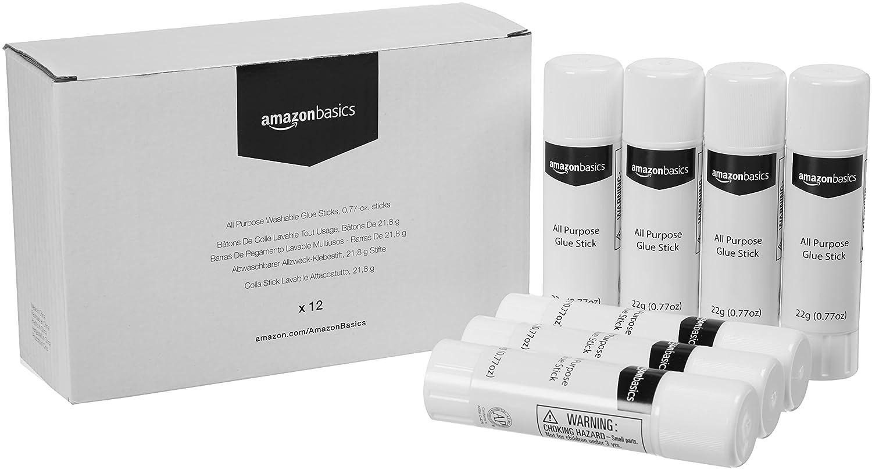 AmazonBasics All Purpose Washable Glue Sticks, 0.77-oz. sticks, 12-Pack AP2212