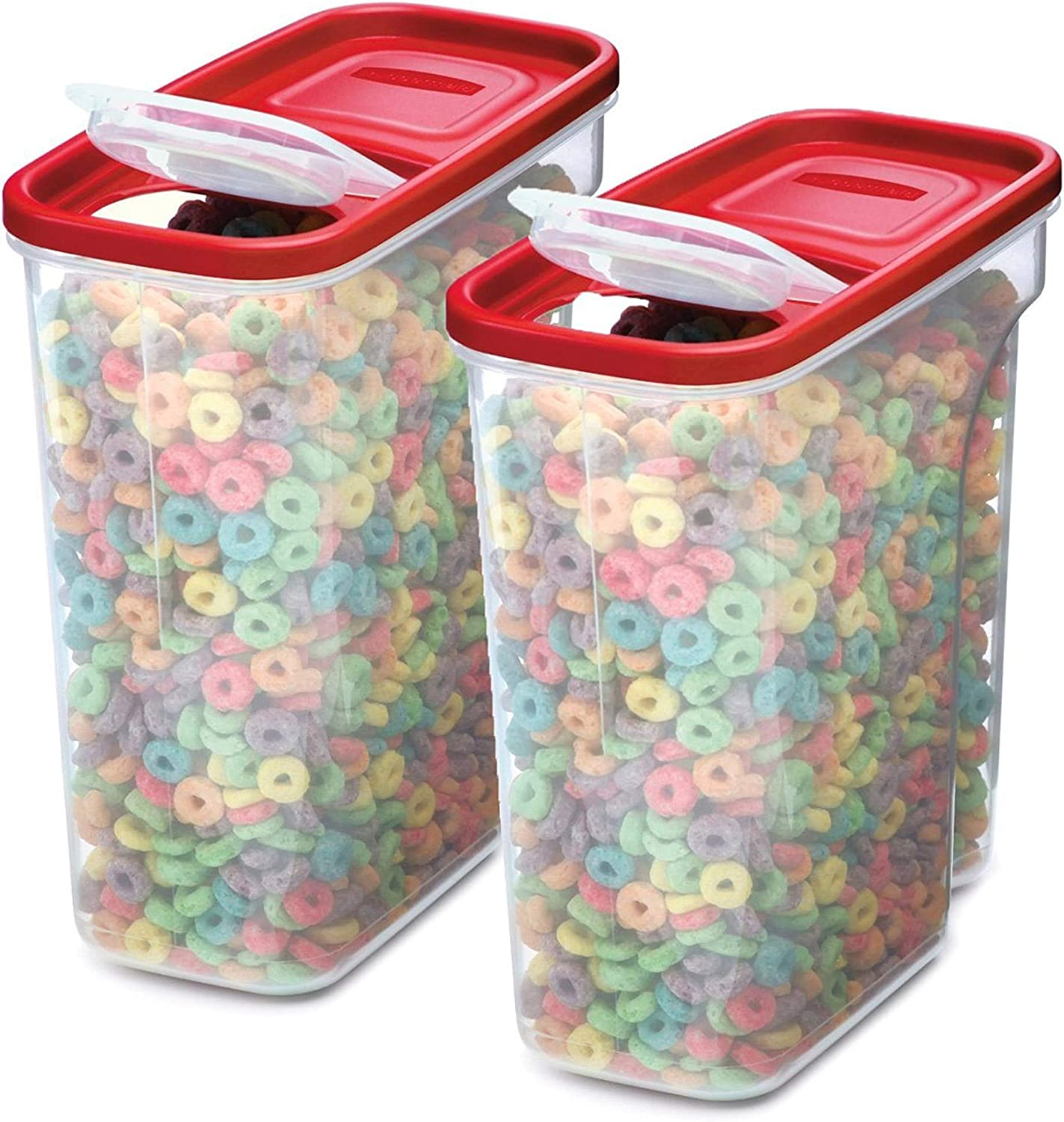 Rubbermaid 2108400 Premium Modular Food Lids | Cereal Keeper, 2-Pack | 18-Cup Stacking, Space Saving Plastic Storage Containers, Clear