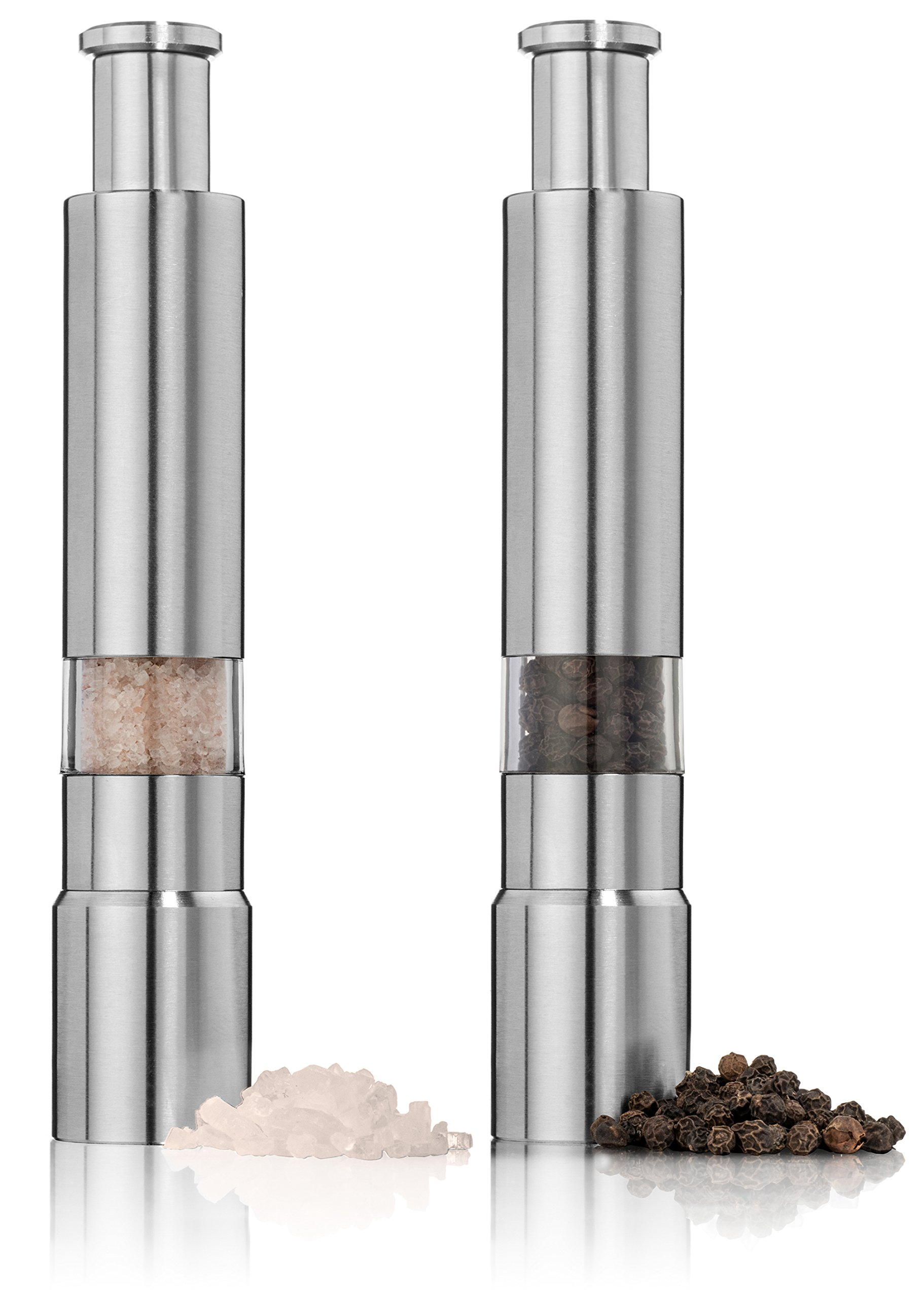 Salt and Pepper Grinder Set. Stainless Steel Salt and Pepper Mills Sleek Design Works Great With Peppercorns, Sea Salt, Himalayan Salt, Spices & Table Seasoning. Mini set of 2.