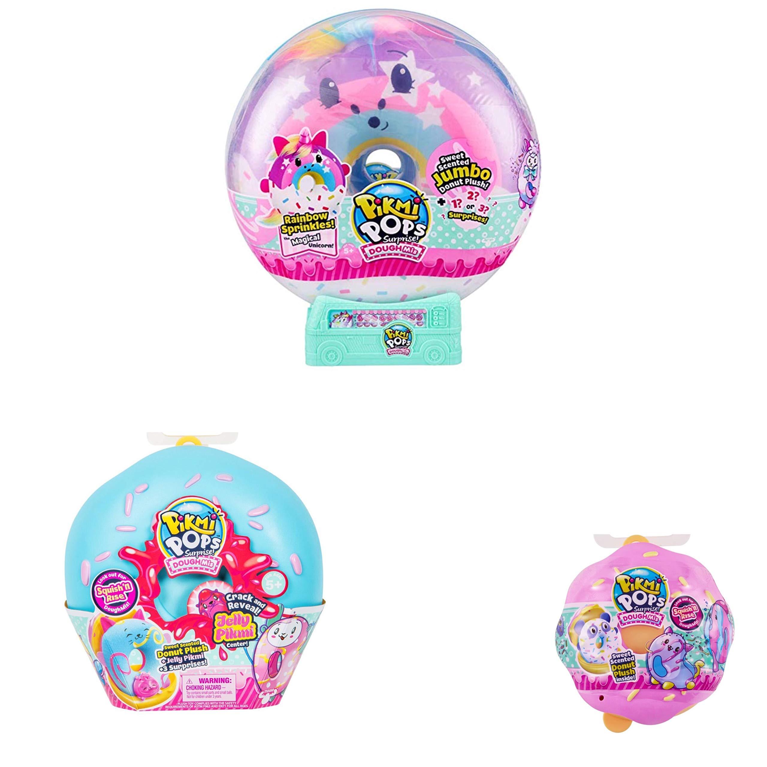 Pikmi Pops Doughmis Series Large Pack 10'' - Rainbow Sprinkles The Unicorn, Medium and Single Doughmi Surprise Bundle