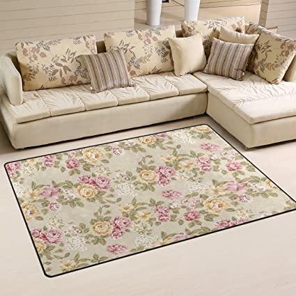 Enjoyable Use7 Shabby Chic Floral Area Rug Rugs Non Slip Floor Mat Doormats Living Room Bedroom 100 X 150 Cm 3 X 5Ft Home Interior And Landscaping Synyenasavecom